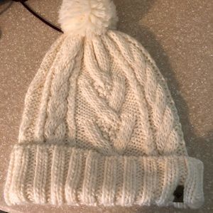 Cable knit white beanie with Pom